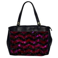 Chevron3 Black Marble & Burgundy Marble Office Handbags (2 Sides)  by trendistuff