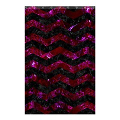 Chevron3 Black Marble & Burgundy Marble Shower Curtain 48  X 72  (small)  by trendistuff