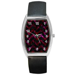 Chevron9 Black Marble & Burgundy Marble Barrel Style Metal Watch by trendistuff