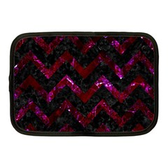 Chevron9 Black Marble & Burgundy Marble Netbook Case (medium)  by trendistuff