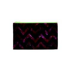 Chevron9 Black Marble & Burgundy Marble Cosmetic Bag (xs) by trendistuff