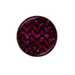 Chevron9 Black Marble & Burgundy Marble (r) Hat Clip Ball Marker (10 Pack) by trendistuff