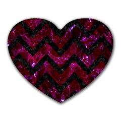 Chevron9 Black Marble & Burgundy Marble (r) Heart Mousepads by trendistuff