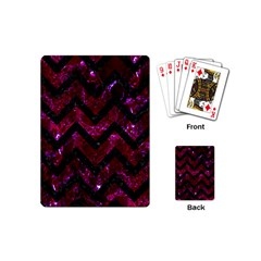 Chevron9 Black Marble & Burgundy Marble (r) Playing Cards (mini)  by trendistuff