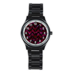 Chevron9 Black Marble & Burgundy Marble (r) Stainless Steel Round Watch by trendistuff