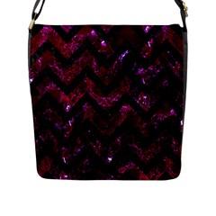 Chevron9 Black Marble & Burgundy Marble (r) Flap Messenger Bag (l)  by trendistuff