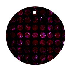 Circles1 Black Marble & Burgundy Marble Round Ornament (two Sides) by trendistuff