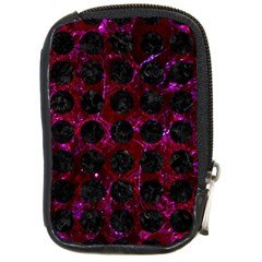 Circles1 Black Marble & Burgundy Marble (r) Compact Camera Cases by trendistuff