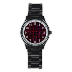 Circles1 Black Marble & Burgundy Marble (r) Stainless Steel Round Watch by trendistuff