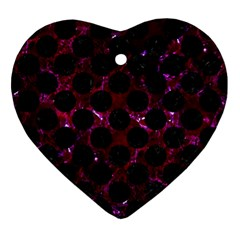 Circles2 Black Marble & Burgundy Marble (r) Ornament (heart) by trendistuff