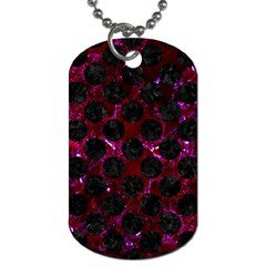 Circles2 Black Marble & Burgundy Marble (r) Dog Tag (two Sides) by trendistuff