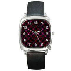 Circles2 Black Marble & Burgundy Marble (r) Square Metal Watch by trendistuff