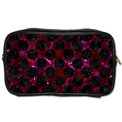 Circles2 Black Marble & Burgundy Marble (r) Toiletries Bags 2 Side by trendistuff