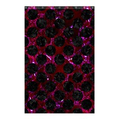 Circles2 Black Marble & Burgundy Marble (r) Shower Curtain 48  X 72  (small)  by trendistuff