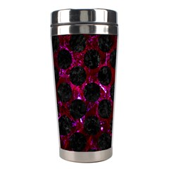 Circles2 Black Marble & Burgundy Marble (r) Stainless Steel Travel Tumblers by trendistuff