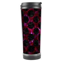 Circles2 Black Marble & Burgundy Marble (r) Travel Tumbler by trendistuff