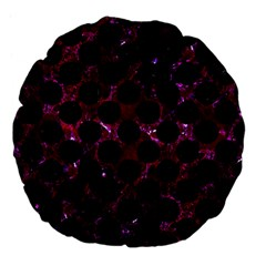 Circles2 Black Marble & Burgundy Marble (r) Large 18  Premium Flano Round Cushions by trendistuff