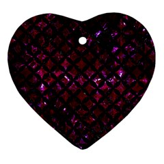 Circles3 Black Marble & Burgundy Marble (r) Heart Ornament (two Sides) by trendistuff