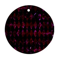 Diamond1 Black Marble & Burgundy Marble Round Ornament (two Sides) by trendistuff
