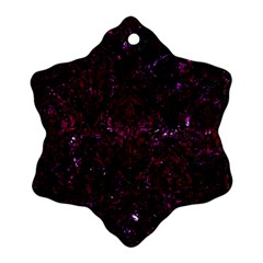 Damask1 Black Marble & Burgundy Marble Snowflake Ornament (two Sides) by trendistuff