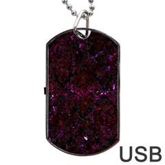 Damask1 Black Marble & Burgundy Marble Dog Tag Usb Flash (one Side) by trendistuff