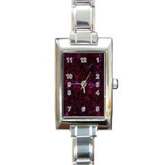Damask2 Black Marble & Burgundy Marble (r) Rectangle Italian Charm Watch by trendistuff