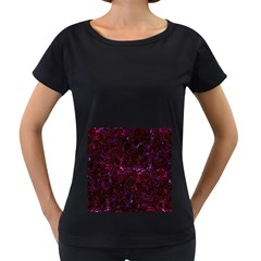 Damask2 Black Marble & Burgundy Marble (r) Women s Loose Fit T Shirt (black) by trendistuff