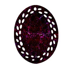 Damask2 Black Marble & Burgundy Marble (r) Oval Filigree Ornament (two Sides) by trendistuff