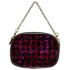 Houndstooth1 Black Marble & Burgundy Marble Chain Purses (one Side)  by trendistuff