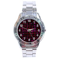 Houndstooth1 Black Marble & Burgundy Marble Stainless Steel Analogue Watch by trendistuff