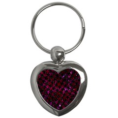 Houndstooth2 Black Marble & Burgundy Marble Key Chains (heart)  by trendistuff