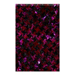 Houndstooth2 Black Marble & Burgundy Marble Shower Curtain 48  X 72  (small)  by trendistuff