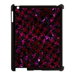 Houndstooth2 Black Marble & Burgundy Marble Apple Ipad 3/4 Case (black) by trendistuff