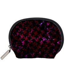 Houndstooth2 Black Marble & Burgundy Marble Accessory Pouches (small)  by trendistuff