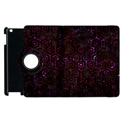 Hexagon1 Black Marble & Burgundy Marble Apple Ipad 2 Flip 360 Case by trendistuff