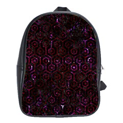 Hexagon1 Black Marble & Burgundy Marble School Bag (xl) by trendistuff