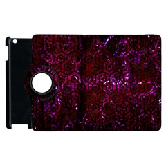 Hexagon1 Black Marble & Burgundy Marble (r) Apple Ipad 2 Flip 360 Case by trendistuff