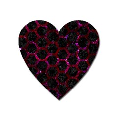 Hexagon2 Black Marble & Burgundy Marble Heart Magnet by trendistuff