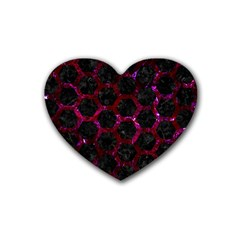 Hexagon2 Black Marble & Burgundy Marble Rubber Coaster (heart)  by trendistuff