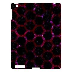 Hexagon2 Black Marble & Burgundy Marble Apple Ipad 3/4 Hardshell Case by trendistuff