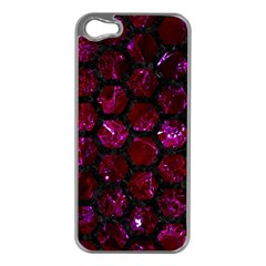 Hexagon2 Black Marble & Burgundy Marble (r) Apple Iphone 5 Case (silver) by trendistuff