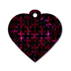 Puzzle1 Black Marble & Burgundy Marble Dog Tag Heart (one Side) by trendistuff
