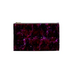 Royal1 Black Marble & Burgundy Marble Cosmetic Bag (small)  by trendistuff