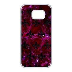 Royal1 Black Marble & Burgundy Marble Samsung Galaxy S7 Edge White Seamless Case by trendistuff