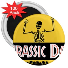 Jurassic Dad Dinosaur Skeleton Funny Birthday Gift 3  Magnets (100 Pack) by PodArtist