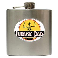 Jurassic Dad Dinosaur Skeleton Funny Birthday Gift Hip Flask (6 Oz) by PodArtist