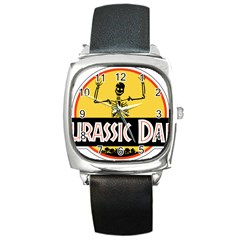 Jurassic Dad Dinosaur Skeleton Funny Birthday Gift Square Metal Watch by PodArtist