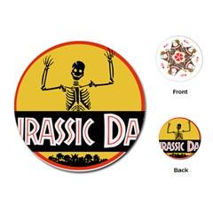 Jurassic Dad Dinosaur Skeleton Funny Birthday Gift Playing Cards (round)  by PodArtist