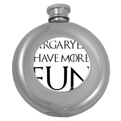Targaryens Have More Fun   Blondes Have More Fun Black Round Hip Flask (5 Oz) by PodArtist