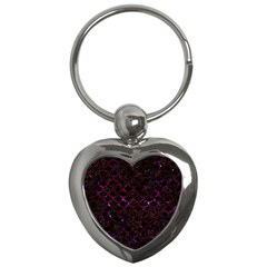 Scales1 Black Marble & Burgundy Marble Key Chains (heart)  by trendistuff